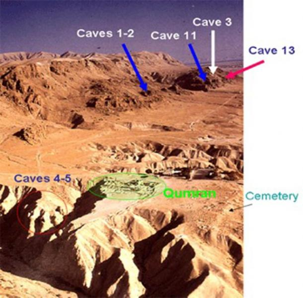 Photo of the Dead Sea Scrolls excavation site in Qumran with the caves and cemetery