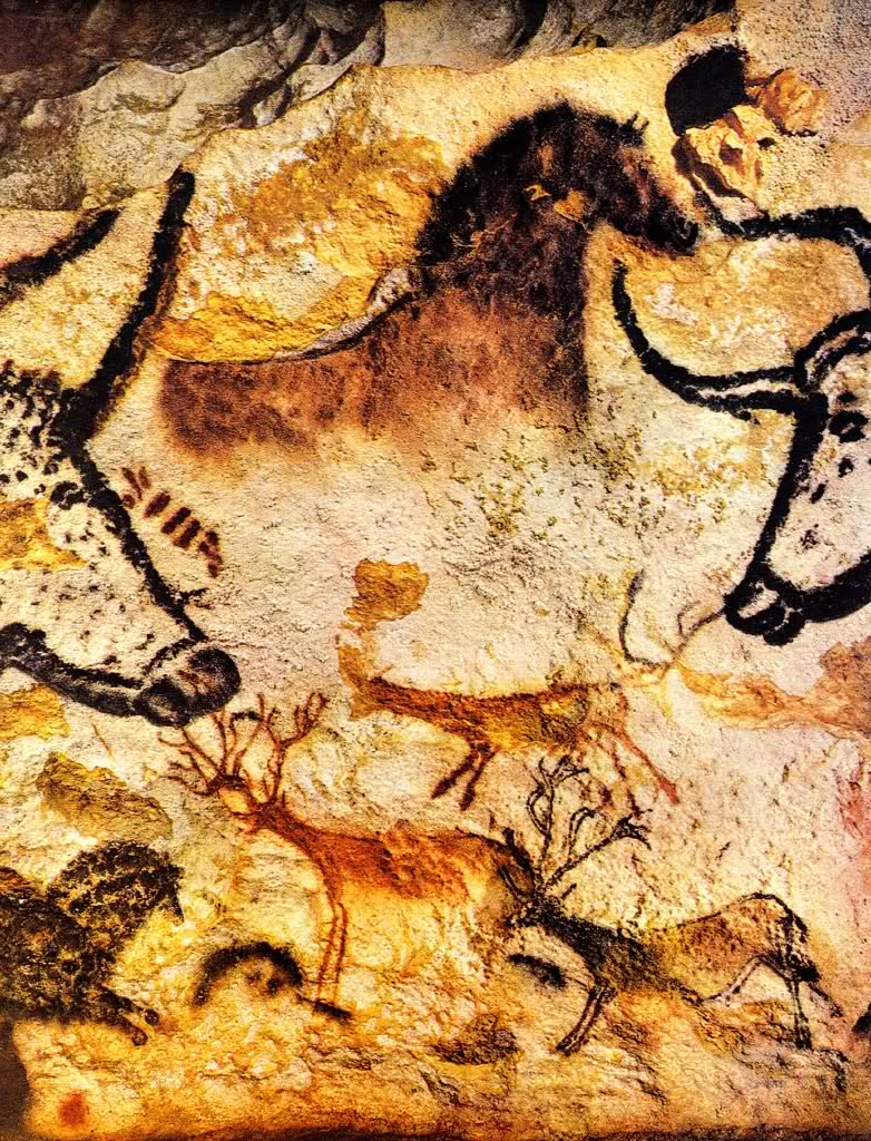 Lascaux horse, stags and bulls