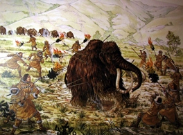 Depiction of a mammoth hunt