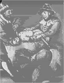 Depiction of ritual torture and murder of a baby