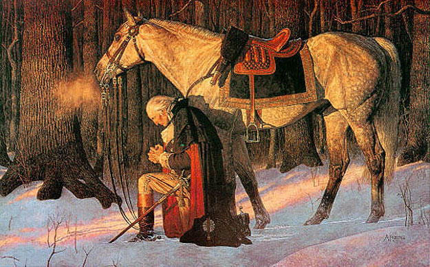 Painting - <em>The Prayer at Valley Forge</em> - depicting George Washington praying in the winter during the American Revolutionary War at Valley Forge, Pennsylvania - by Arnold Friberg