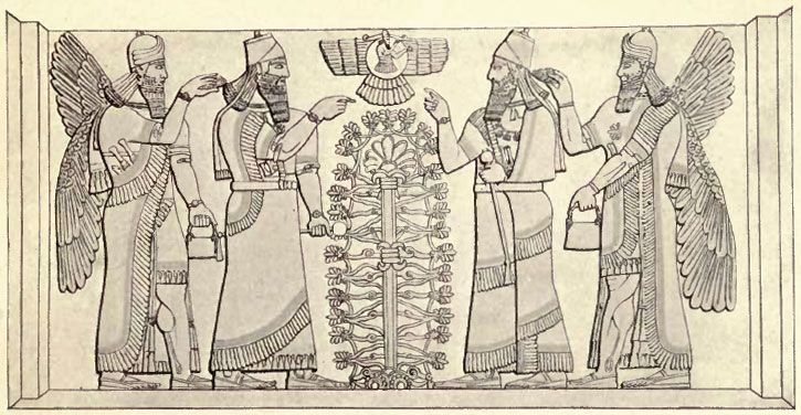 Ashurnasirpal II flanked by winged Apkallu figures