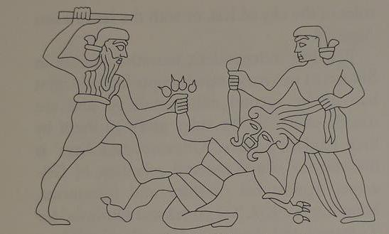Enkidu and Gilgamesh slaying Humbaba