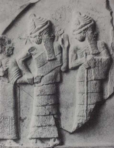 Gudea of Lagash grasped by Ningishzida (close up)