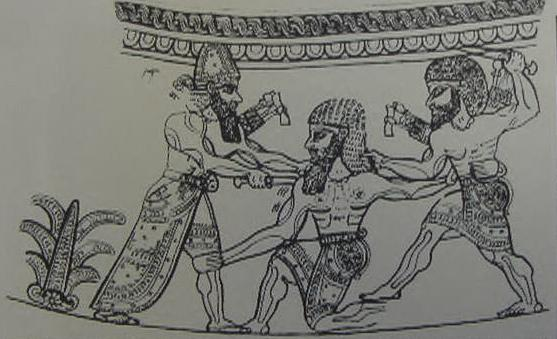 Humbaba being slain by Gilgamesh and Enkidu