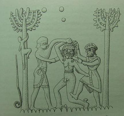 Naked Huwawa is slain and beheaded with swords by a beardless Enkidu and bearded Gilgamesh