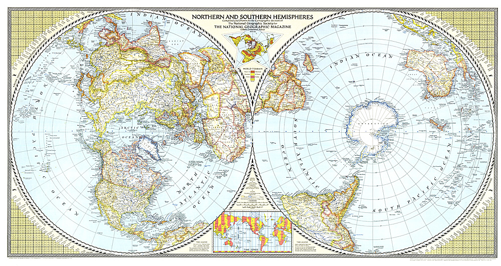 1943 Map of the Northern and Southern Hemispheres