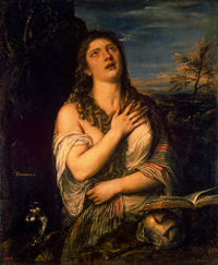 The penitent Mary Magdalene, a much reproduced composition by Titian.