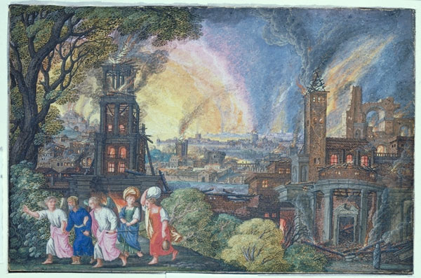 Angels escort Lot from Sodom