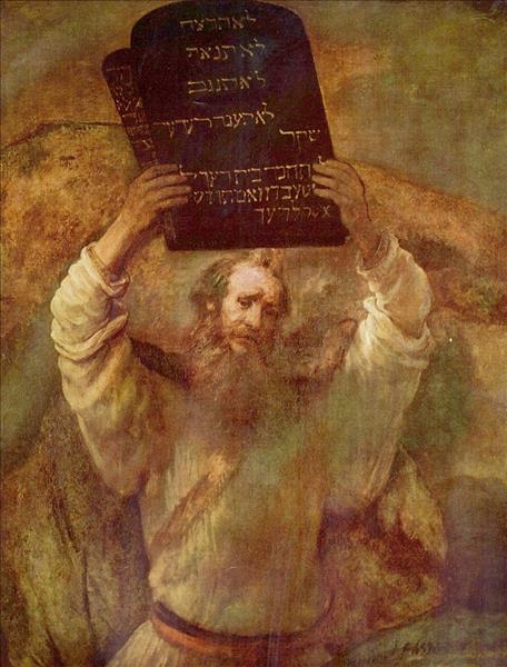 Moses and the Ten Commandments by Rembrandt