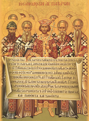 Emperor Constantine and Fathers of the First Council of Nicaea 325 A.D. holding the Nicene Creed in its 385 A.D. form
