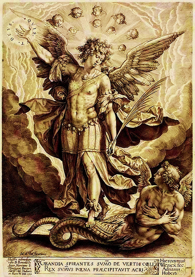 St. Michael Slaying The Dragon 16th Century by Hieronymus