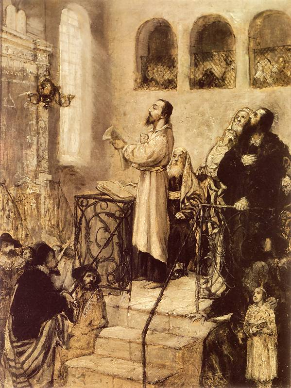 Uriel Acosta standing in synagogue
